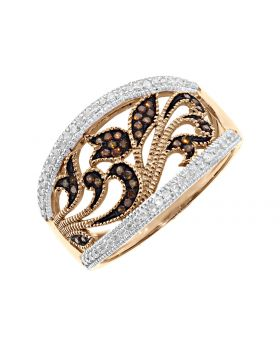 Fancy Red & White Diamond Filigree Band Ring in 10k Rose Gold (0.25ct)