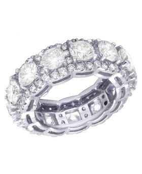 14K White Gold Real Diamond Halo Eternity Band Ring 9 CT 9MM