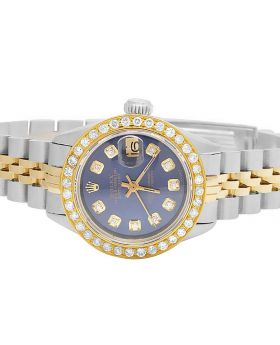 Ladies Rolex Datejust 18K/ Steel Two Tone 26MM Blue Dial Diamond Watch (2.0 Ct)