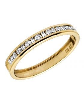 14K Yellow Gold One Row Real Diamond Channel Wedding Band Ring 0.25 Ct