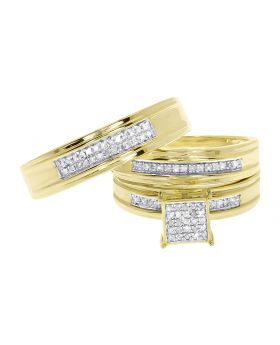 Mens Ladies Pave Diamond Trio Ring Set in Yellow Gold Finish (0.50 ct)