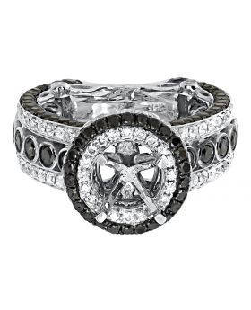 14k White Gold Black Diamond Solitaire Semi Mount Fashion Ring (3.55 ct)