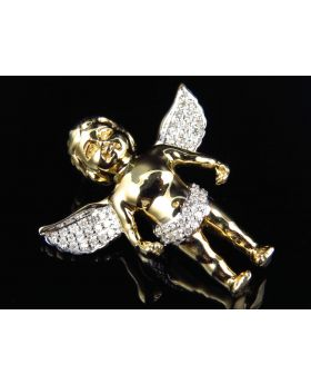 Solid Yellow Gold Baby Angel Pendant (0.40 ct)