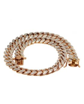 Rose Gold 20MM Baguette Diamond Miami Cuban Chain 43.75 CT 24.5""