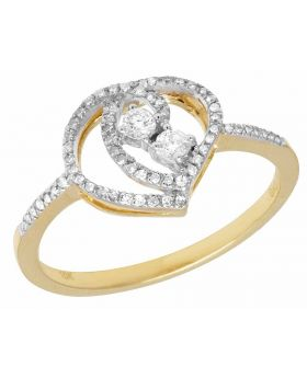 Ladies 10k Yellow Gold Heart Real Diamonds 2 Stone Ring 0.2 ct