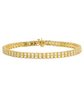 Tennis Diamond Bracelet in 10K Yellow Gold 6.5Ct 6mm 8""