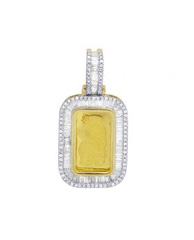 "Men 24K Yellow Gold Lady Fortuna Bar Real Diamond Baguette Pendant 1.25"" 0.72CT 1gm"
