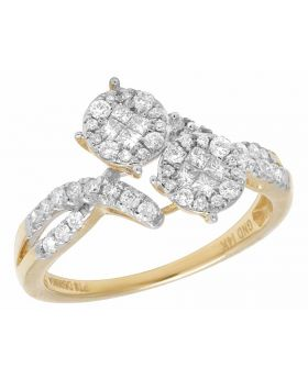 14K Yellow Gold Real Princess Diamond 2 Cluster Engagement Ring .50ct
