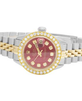 Ladies Rolex Datejust 18K/ Steel Two Tone 26MM Red Dial Diamond Watch (2.0 Ct)