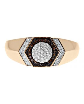 Mens Hexagonal Ring with Red Diamonds (0.20 ct)