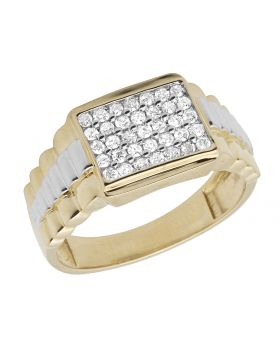 10K Yellow Gold Square Real Diamond Men's Presidential Ring 0.50ct 11MM