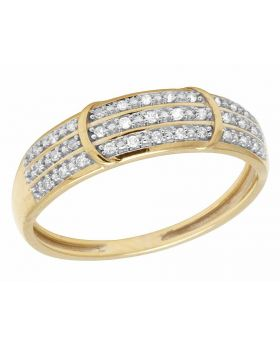 10K Yellow Gold Real Diamond 3 Row Band Ring .10ct 5MM