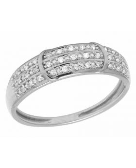 10K White Gold Real Diamond 3 Row Band Ring .10ct 5MM
