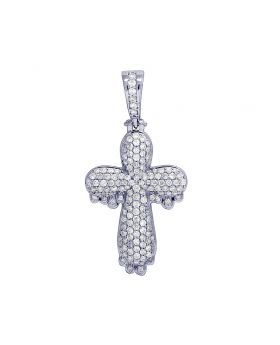10K White Gold Real Diamond Dripping Cross Pendant 1.55 CT 1.5""