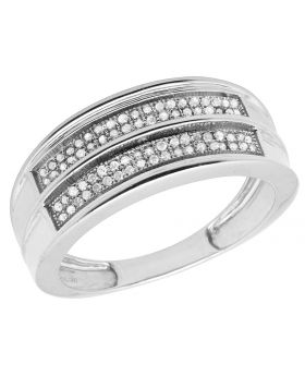 Men's White Gold Finish Real Diamonds Band Engagement Ring 0.20ct