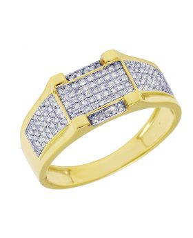 Men's Yellow Gold 4 Prong Style Diamond Pave Pinky Ring 0.3 CT