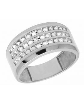 Men's 10K White Gold Real Diamond Channel Wedding Ring 1/2 CT 11MM