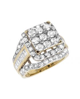 Ladies 10k Yellow Gold Real Diamonds Square Cluster Wedding Engagement Ring 2ct