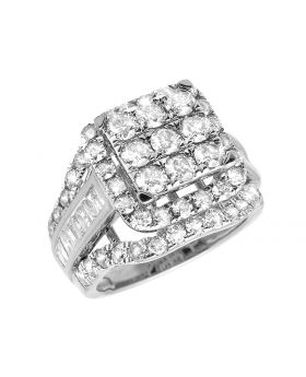 Ladies 10K White Gold Real Baguette Diamonds Cluster Engagement Ring 2ct