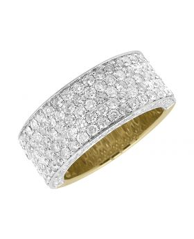 Mens 10K Yellow Gold 3D Round Pave Diamond Engagement Ring Band 3.5ct