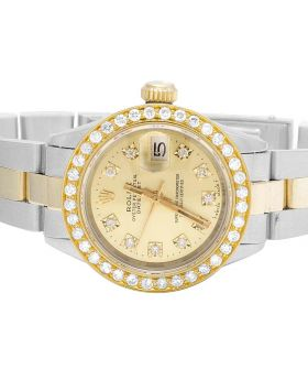 Ladies Rolex Datejust 18K/ Steel Two Tone Oyster 26MM Diamond Watch (2.0 Ct)