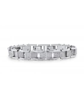 "Mens Genuine Diamond Iced Out Folded Link White Steel Bracelet BR9F by Arctica 9"" 3.35Ct"