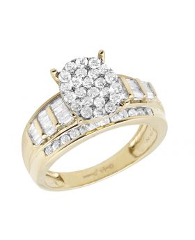 10K Yellow Gold Baguette Real Diamond Cinderella Engagement Ring 1.0ct