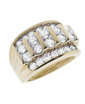 Men's 10K Yellow Gold Real Diamonds Channel Wedding Band Ring 3.0ct