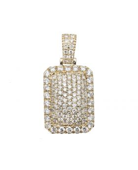 14K Yellow Gold Solid Dome Pillow Real VS Diamond Pendant 3.0 ct