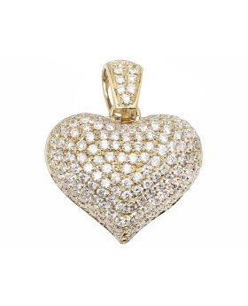 14K Yellow Gold Puffed Real VS Diamond Heart Pendant Charm 2.5 ct 1.0""