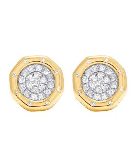 10K Yellow Gold Diamond Octagon Cluster Stud Earrings  0.50 Ct 12MM