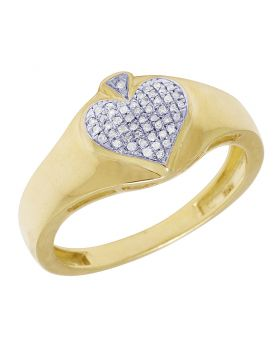 10K Yellow Gold Diamond Spade Ring 0.11CT 11MM