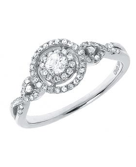 10k White Gold Solitaire Diamond Halo Engagement Ring (0.42ct)