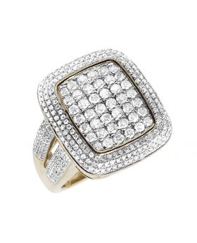 Men's 10K Yellow Gold Square 3D Pinky Ring Real Diamonds 2.45 ct