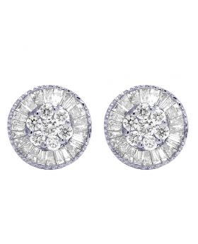 18K White Gold 1.50 CT Diamond Baguette Cluster Earrings 12MM