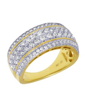 10K Yellow Gold 1.25 CT Diamond Wedding Band Ring 11MM