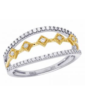 Ladies 10K Two Tone Gold Real Diamond Cocktail Ring .25Ct