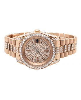 Mens Rose Gold Stainless Steel Presidential Simulated Diamond Watch 41MM
