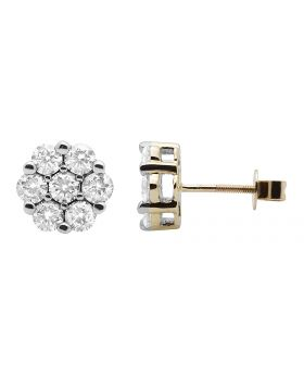 Ladies 10K Yellow Gold Cluster Flower Real Diamond Studs Earrings 1.50CT