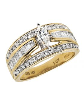 14K Yellow Gold Marquise Baguette Genuine Diamond Engagement Cluster Ring 1 ct