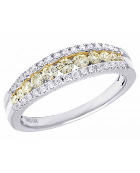 Ladies 14K White Gold Genuine Canary Diamond Channel Band Ring .50CT