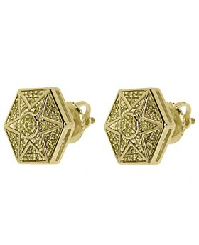 Pave Yellow Diamond 11mm Hexagon Star Earrings in 10k Yellow Gold (0.25 ct)