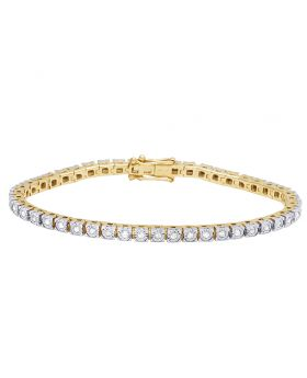 Ladies 10K Yellow Gold Real Diamond Fanook Bracelet 1 CT 7""