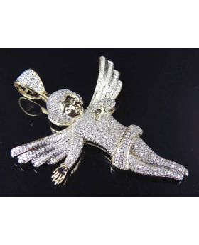 10K Yellow Gold Genuine Diamond Iced Out Directing Angel Pendant (1.30ct) 2""