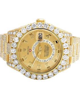 18k Rolex Sky Dweller 326938 Yellow Gold Diamond Watch 26.5 Ct