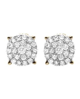 10K Yellow Gold Real Diamond Round Cluster Studs Earring 1.0ct