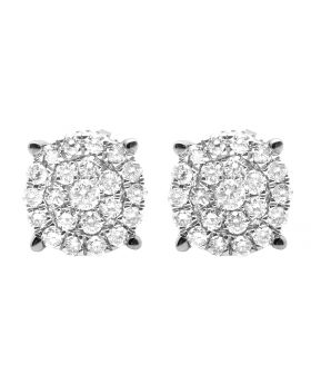 10K White Gold Real Diamond Round Cluster Studs Earring 0.75ct