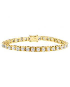 Men's 10K Yellow Gold Diamond 6MM Cluster Tennis Bracelet 2 CT 8.5""