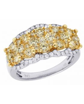 Ladies 14K White Gold Real Canary Diamond Cluster Engagement Ring 2CT