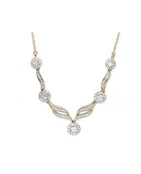 Ladies 14K Yellow Gold Real Diamond Floral Necklace 1.5 ct